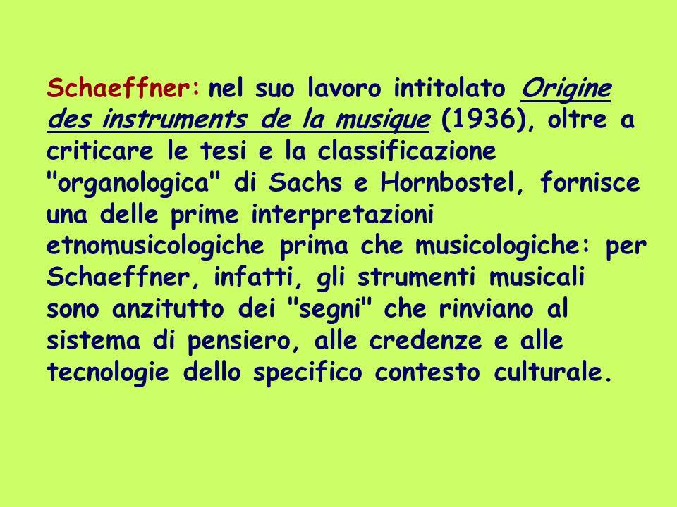 Schaeffner: nel suo lavoro intitolato Origine des instruments de la musique (1936), oltre a criticare le tesi e la classificazione