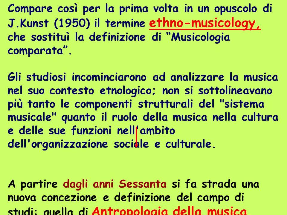 Compare così per la prima volta in un opuscolo di J.Kunst (1950) il termine ethno-musicology, che sostituì la definizione di Musicologia comparata. Gl