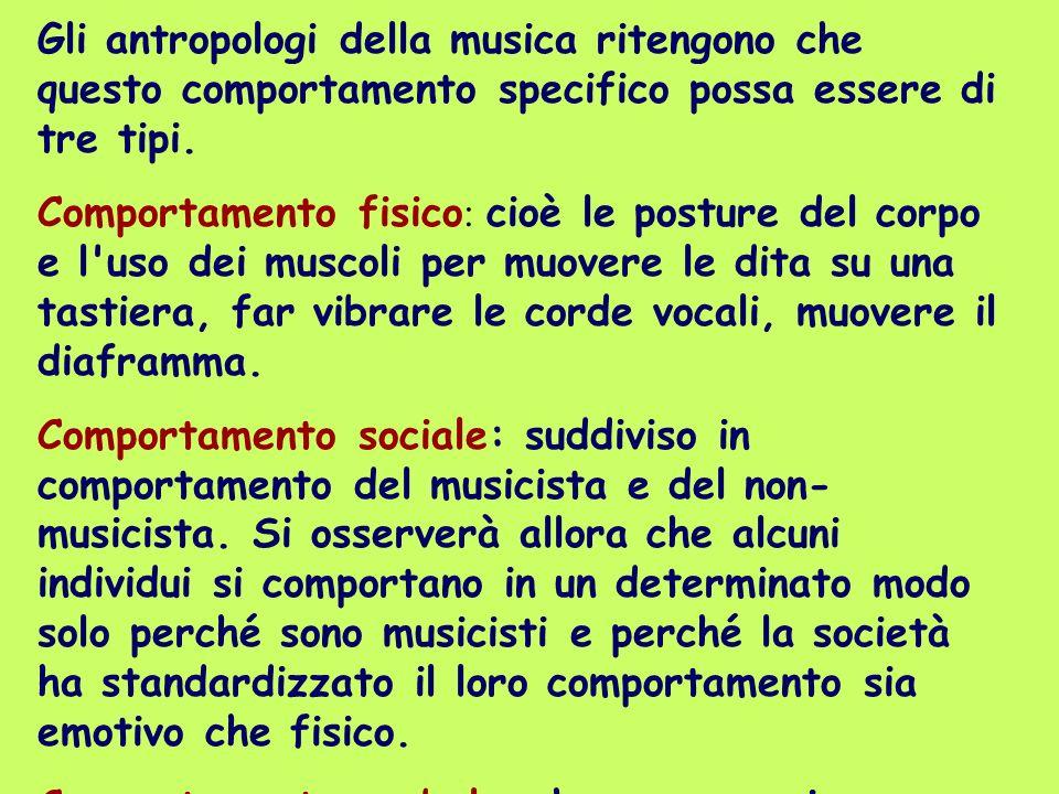 Gli antropologi della musica ritengono che questo comportamento specifico possa essere di tre tipi. Comportamento fisico : cioè le posture del corpo e