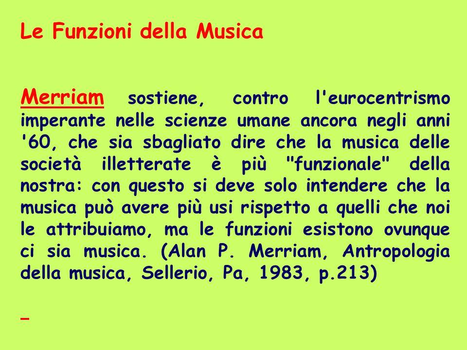 Le Funzioni della Musica Merriam sostiene, contro l'eurocentrismo imperante nelle scienze umane ancora negli anni '60, che sia sbagliato dire che la m