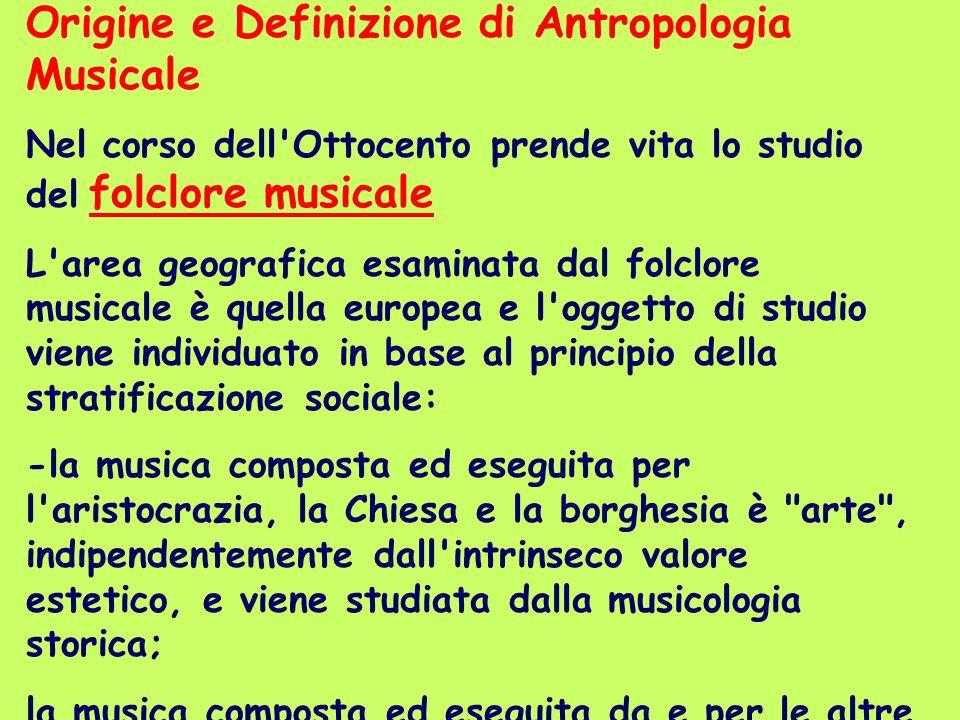 Origine e Definizione di Antropologia Musicale Nel corso dell'Ottocento prende vita lo studio del folclore musicale L'area geografica esaminata dal fo