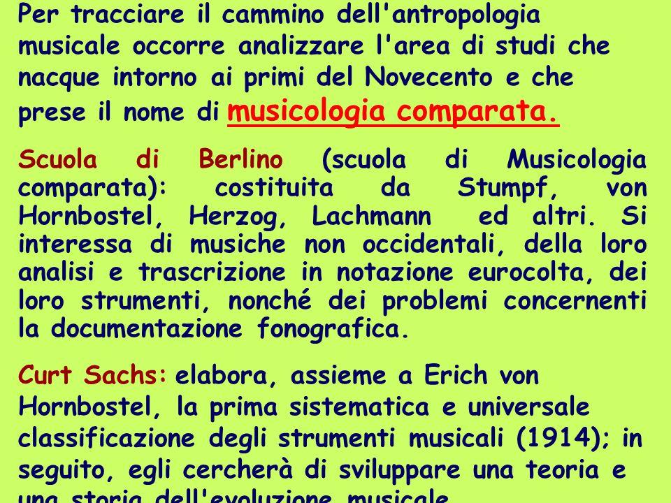 Per tracciare il cammino dell'antropologia musicale occorre analizzare l'area di studi che nacque intorno ai primi del Novecento e che prese il nome d