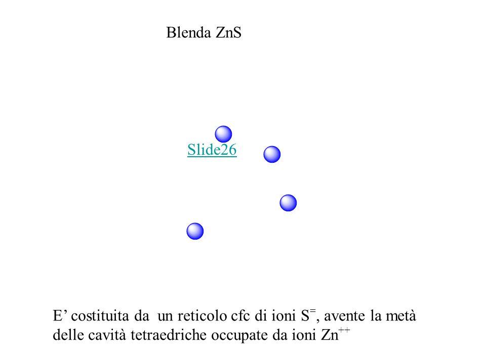 Blenda ZnS E costituita da un reticolo cfc di ioni S =, avente la metà delle cavità tetraedriche occupate da ioni Zn ++ Slide26