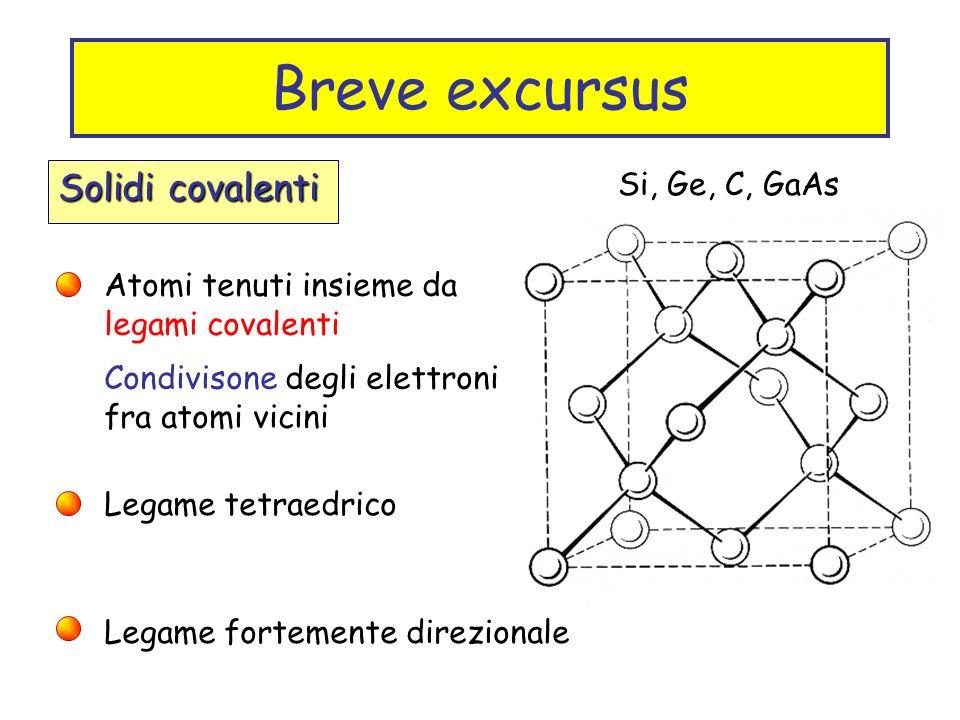 Breve excursus Solidi covalenti Si, Ge, C, GaAs Atomi tenuti insieme da legami covalenti Condivisone degli elettroni fra atomi vicini Legame tetraedri