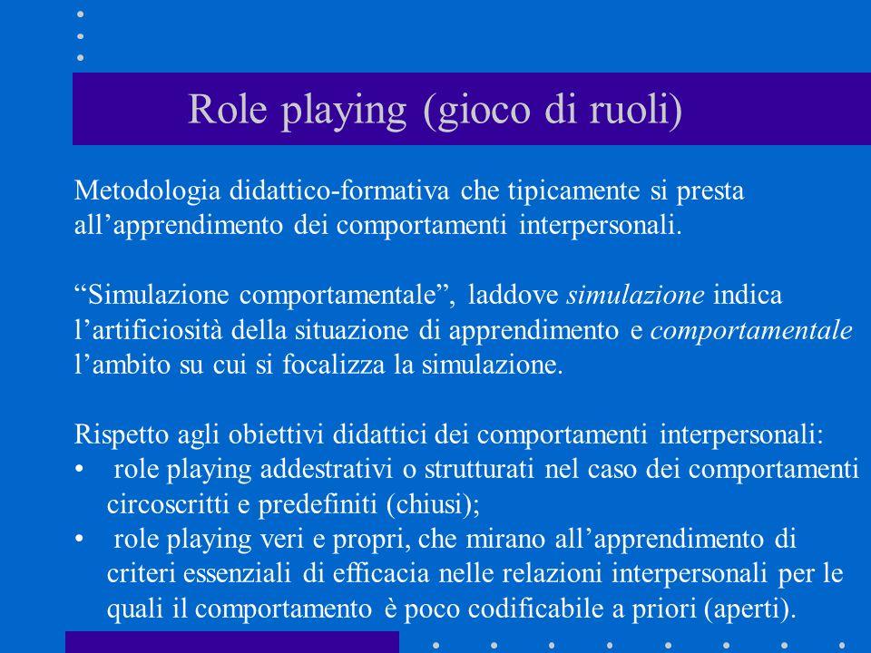 Role playing (gioco di ruoli) Metodologia didattico-formativa che tipicamente si presta allapprendimento dei comportamenti interpersonali. Simulazione