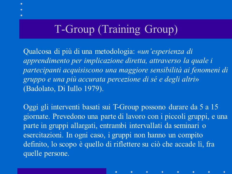 T-Group (Training Group) Qualcosa di più di una metodologia: «unesperienza di apprendimento per implicazione diretta, attraverso la quale i partecipan
