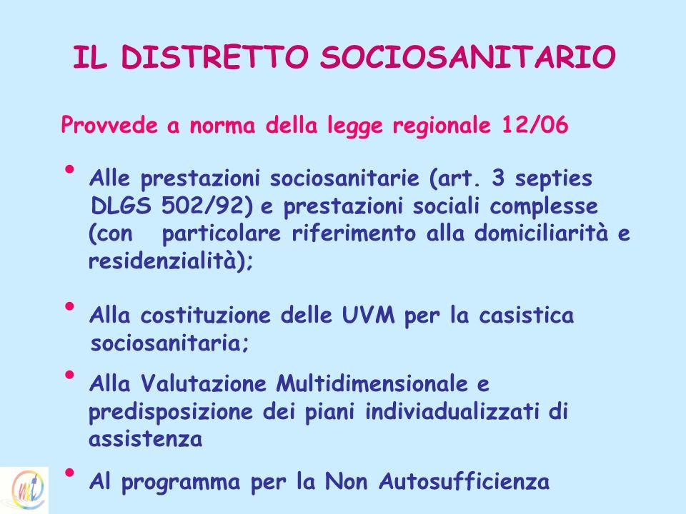 IL DISTRETTO SOCIOSANITARIO Provvede a norma della legge regionale 12/06 Alle prestazioni sociosanitarie (art. 3 septies DLGS 502/92) e prestazioni so