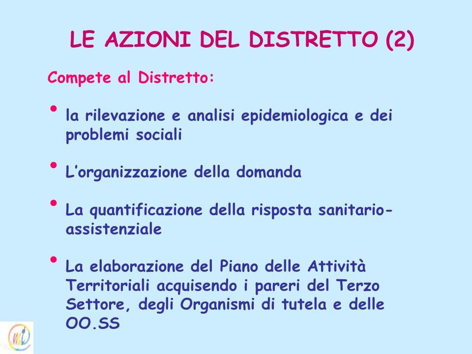 LE AZIONI DEL DISTRETTO (2) Compete al Distretto: la rilevazione e analisi epidemiologica e dei problemi sociali Lorganizzazione della domanda La quan