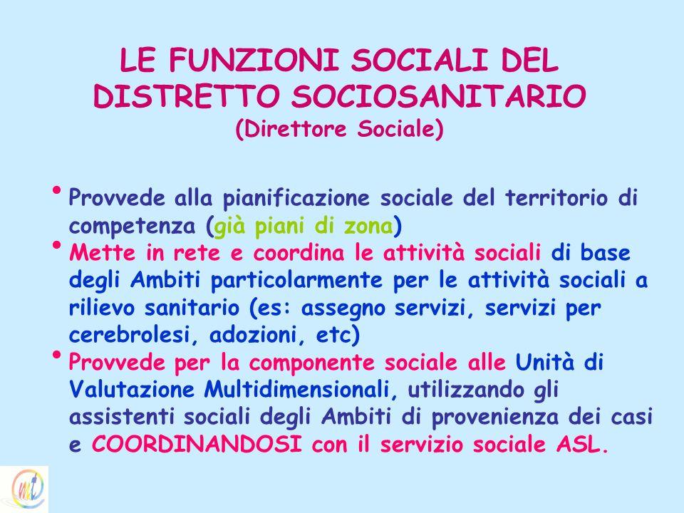 LE FUNZIONI SOCIALI DEL DISTRETTO SOCIOSANITARIO (Direttore Sociale) Provvede alla pianificazione sociale del territorio di competenza (già piani di z