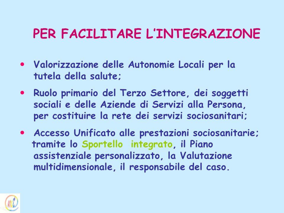 PER FACILITARE LINTEGRAZIONE Valorizzazione delle Autonomie Locali per la tutela della salute; Ruolo primario del Terzo Settore, dei soggetti sociali
