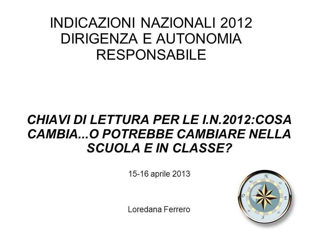 INDICAZIONI NAZIONALI 2012 DIRIGENZA E AUTONOMIA RESPONSABILE CHIAVI DI LETTURA PER LE I.N.2012:COSA CAMBIA...O POTREBBE CAMBIARE NELLA SCUOLA E IN CLASSE.