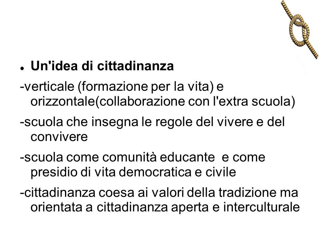 Un'idea di cittadinanza -verticale (formazione per la vita) e orizzontale(collaborazione con l'extra scuola) -scuola che insegna le regole del vivere