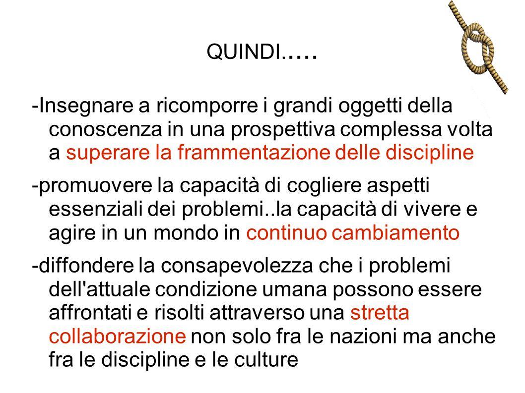 QUINDI..... -Insegnare a ricomporre i grandi oggetti della conoscenza in una prospettiva complessa volta a superare la frammentazione delle discipline