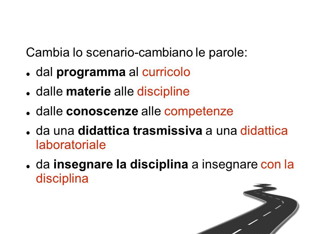 Cambia lo scenario-cambiano le parole: dal programma al curricolo dalle materie alle discipline dalle conoscenze alle competenze da una didattica trasmissiva a una didattica laboratoriale da insegnare la disciplina a insegnare con la disciplina