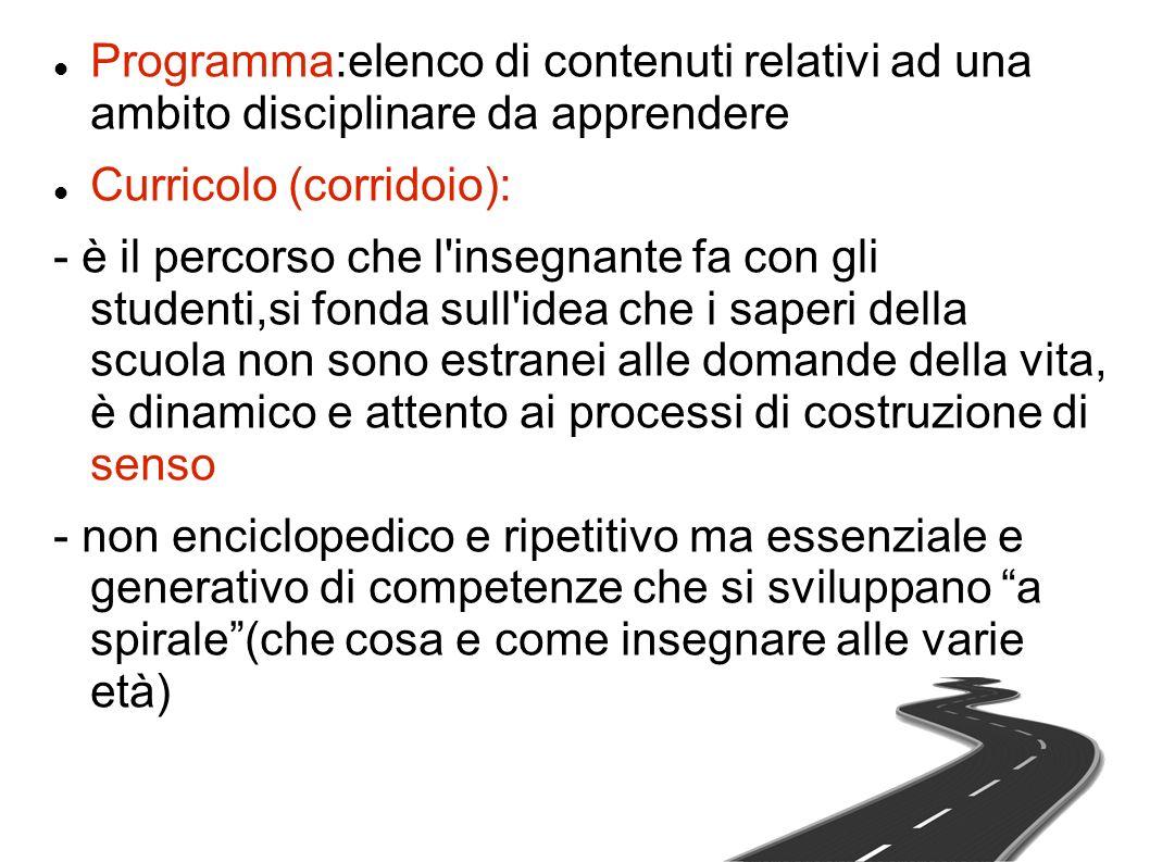 Programma:elenco di contenuti relativi ad una ambito disciplinare da apprendere Curricolo (corridoio): - è il percorso che l'insegnante fa con gli stu