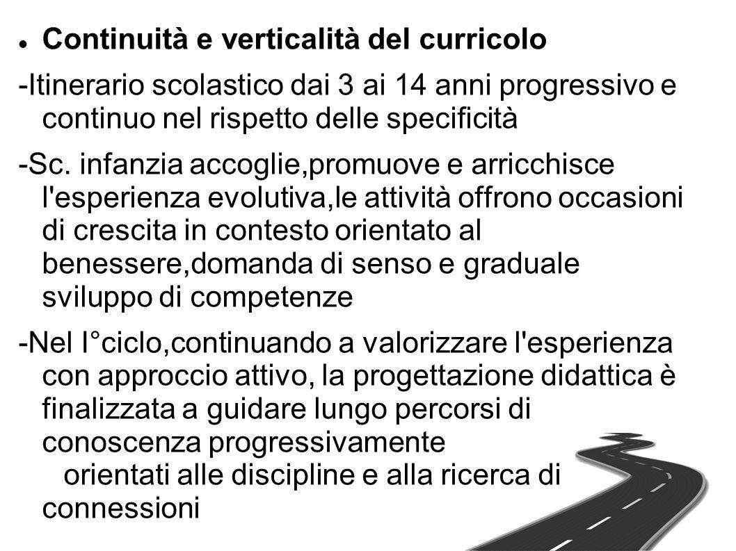 Continuità e verticalità del curricolo -Itinerario scolastico dai 3 ai 14 anni progressivo e continuo nel rispetto delle specificità -Sc. infanzia acc