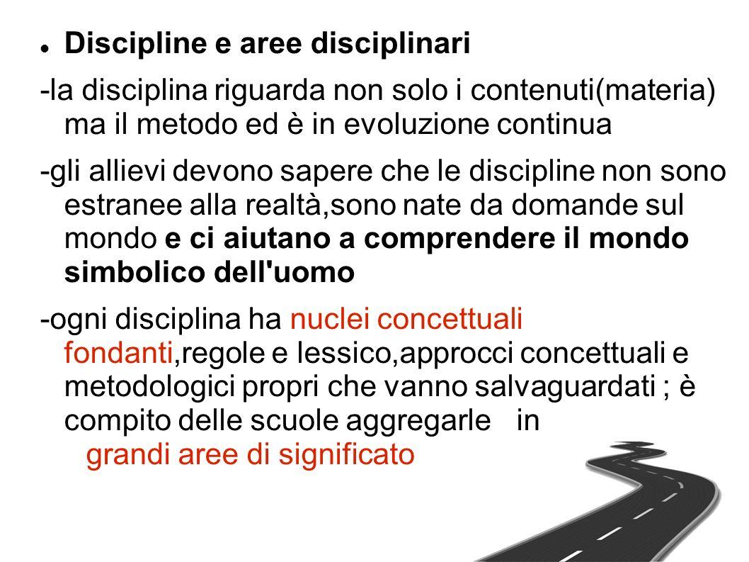 Discipline e aree disciplinari -la disciplina riguarda non solo i contenuti(materia) ma il metodo ed è in evoluzione continua -gli allievi devono sape