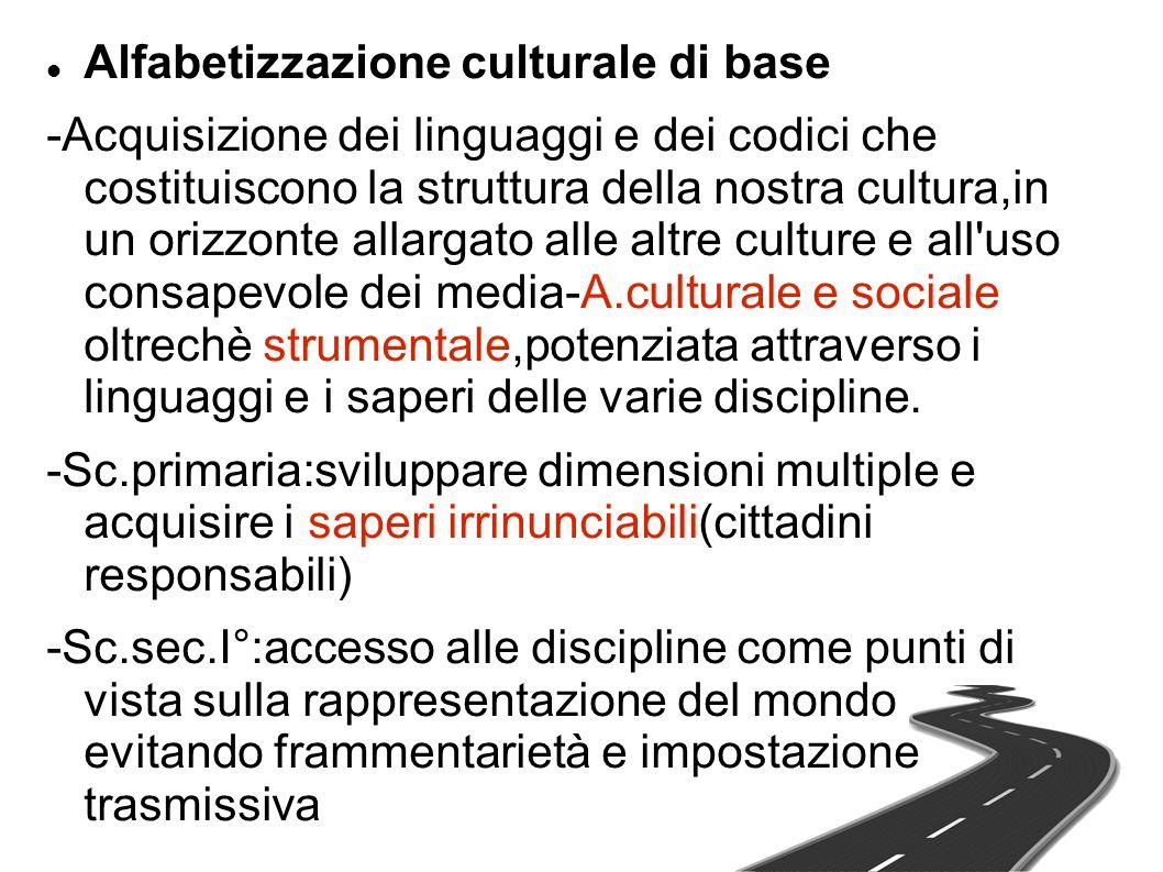 Alfabetizzazione culturale di base -Acquisizione dei linguaggi e dei codici che costituiscono la struttura della nostra cultura,in un orizzonte allarg
