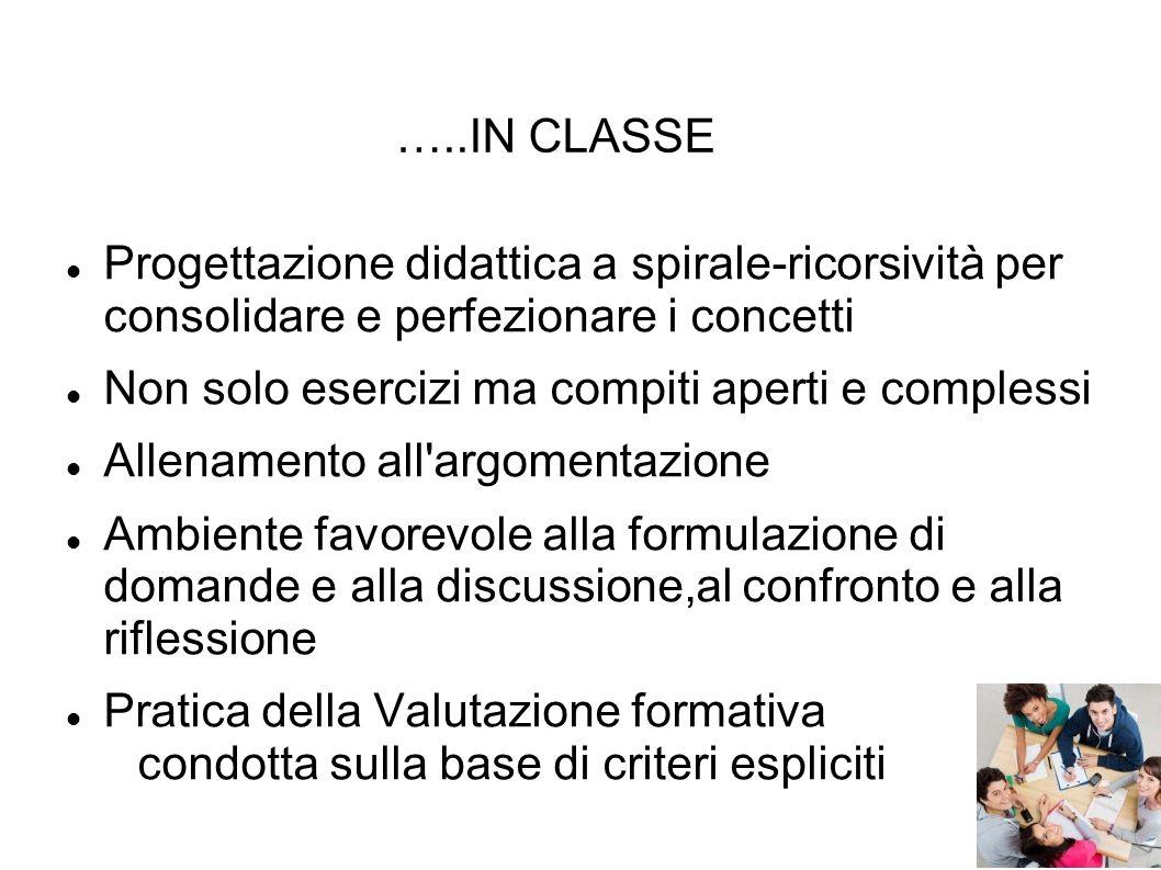 …..IN CLASSE Progettazione didattica a spirale-ricorsività per consolidare e perfezionare i concetti Non solo esercizi ma compiti aperti e complessi A