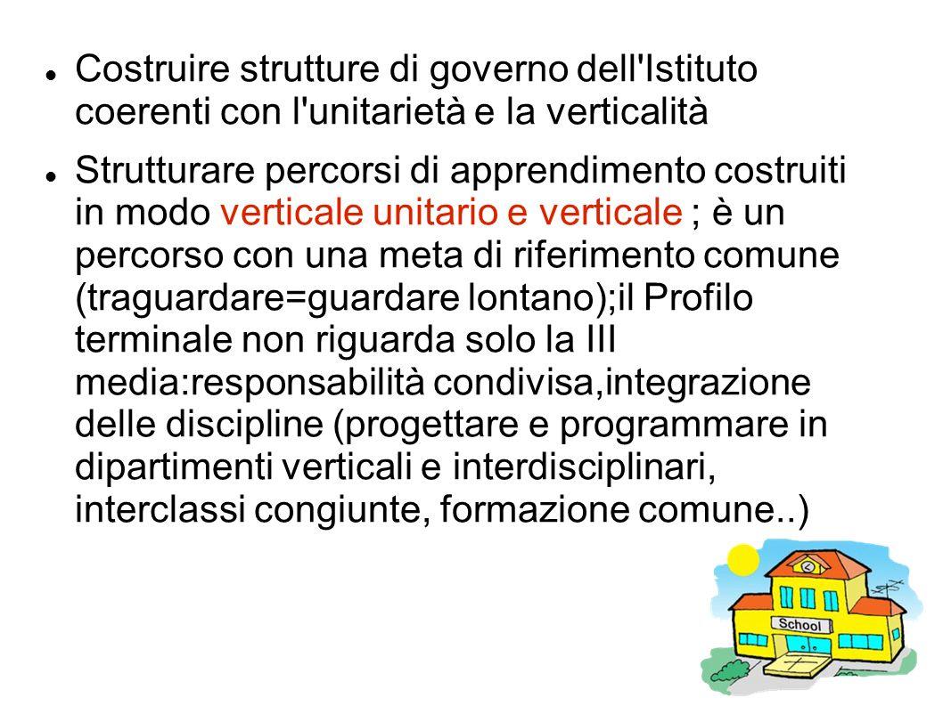 Costruire strutture di governo dell'Istituto coerenti con l'unitarietà e la verticalità Strutturare percorsi di apprendimento costruiti in modo vertic