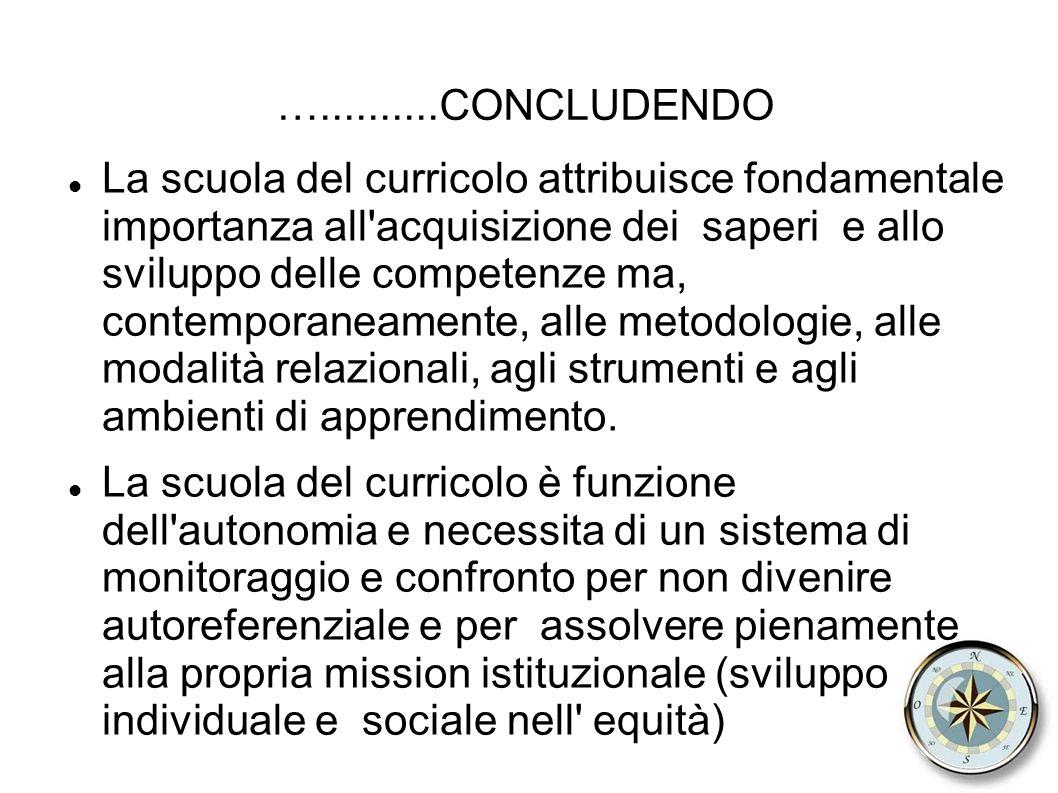 …..........CONCLUDENDO La scuola del curricolo attribuisce fondamentale importanza all acquisizione dei saperi e allo sviluppo delle competenze ma, contemporaneamente, alle metodologie, alle modalità relazionali, agli strumenti e agli ambienti di apprendimento.