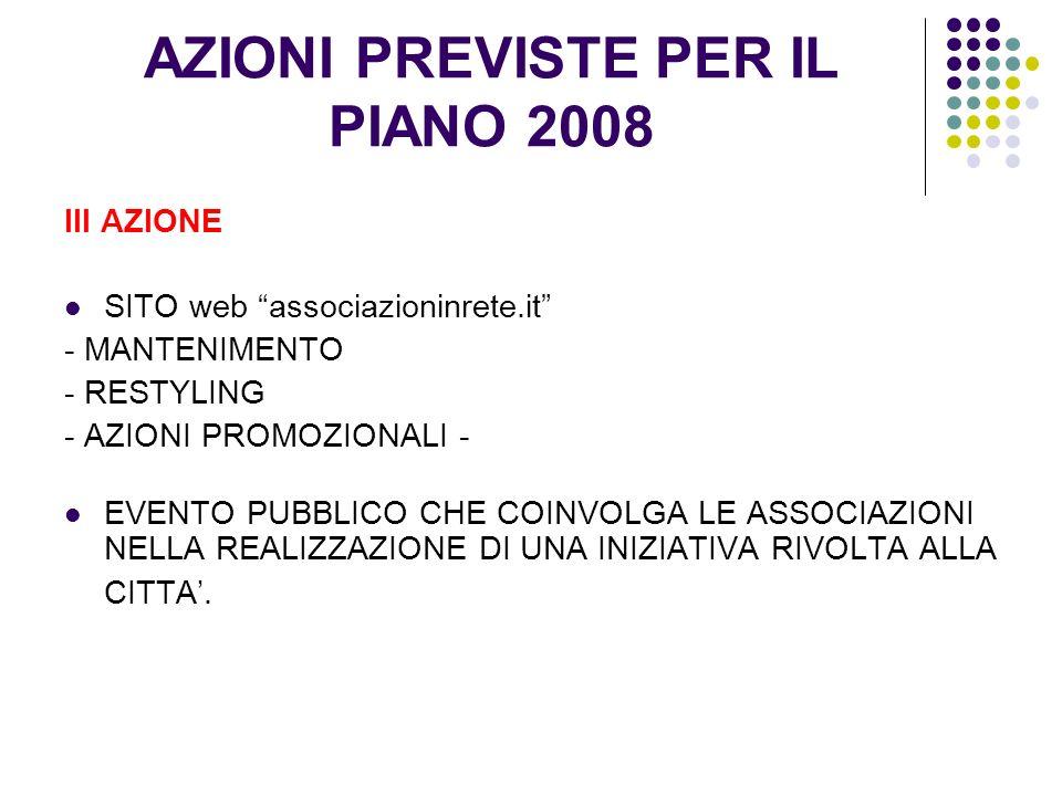 AZIONI PREVISTE PER IL PIANO 2008 III AZIONE SITO web associazioninrete.it - MANTENIMENTO - RESTYLING - AZIONI PROMOZIONALI - EVENTO PUBBLICO CHE COINVOLGA LE ASSOCIAZIONI NELLA REALIZZAZIONE DI UNA INIZIATIVA RIVOLTA ALLA CITTA.