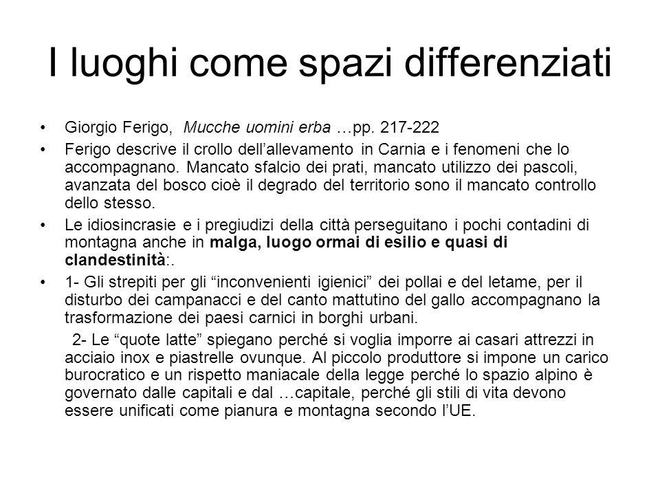 I luoghi come spazi differenziati Giorgio Ferigo, Mucche uomini erba …pp. 217-222 Ferigo descrive il crollo dellallevamento in Carnia e i fenomeni che