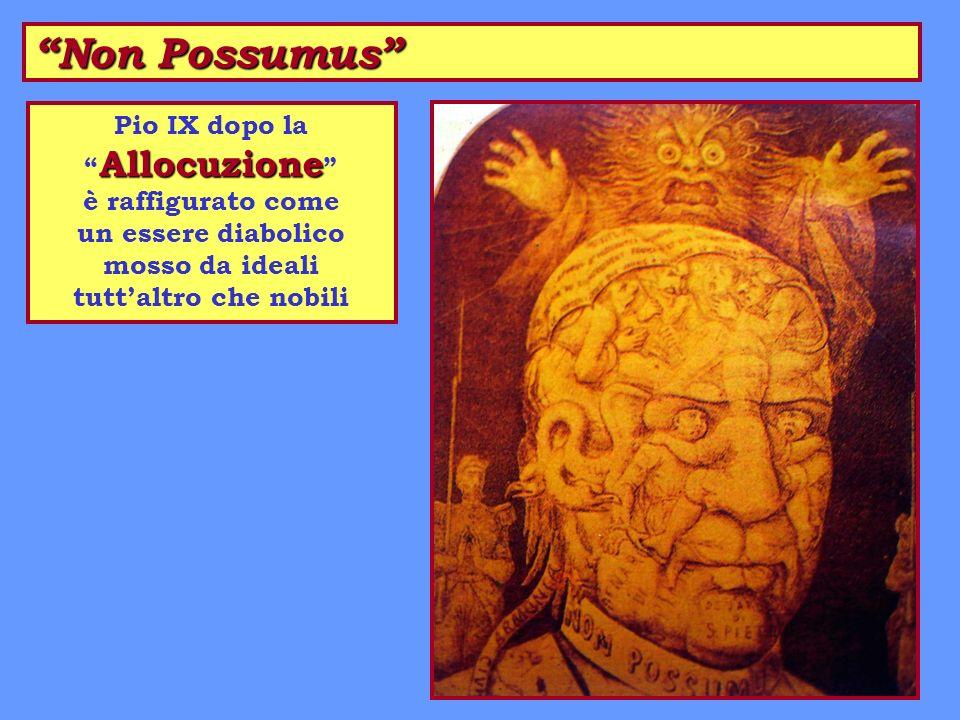 Non Possumus Allocuzione Pio IX dopo la Allocuzione è raffigurato come un essere diabolico mosso da ideali tuttaltro che nobili