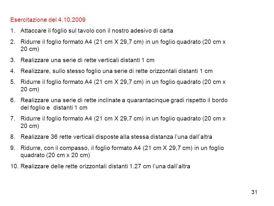 31 Esercitazione del 4.10.2009 1.Attaccare il foglio sul tavolo con il nostro adesivo di carta 2.Ridurre il foglio formato A4 (21 cm X 29,7 cm) in un