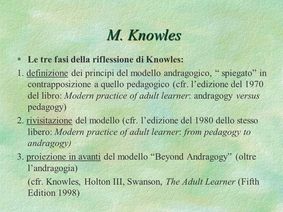 M. Knowles §Le tre fasi della riflessione di Knowles: 1. definizione dei principi del modello andragogico, spiegato in contrapposizione a quello pedag