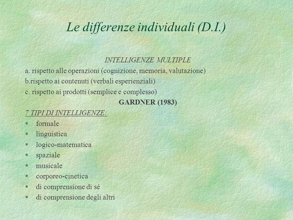Le differenze individuali (D.I.) INTELLIGENZE MULTIPLE a. rispetto alle operazioni (cognizione, memoria, valutazione) b.rispetto ai contenuti (verbali