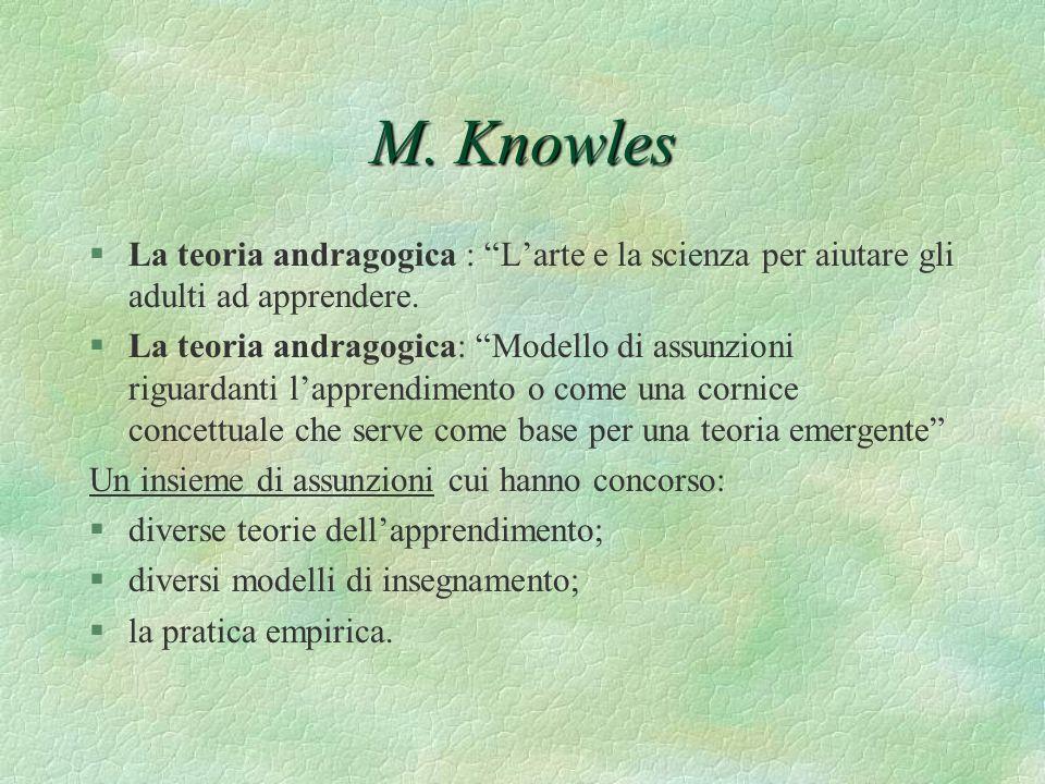 M. Knowles §La teoria andragogica : Larte e la scienza per aiutare gli adulti ad apprendere. §La teoria andragogica: Modello di assunzioni riguardanti