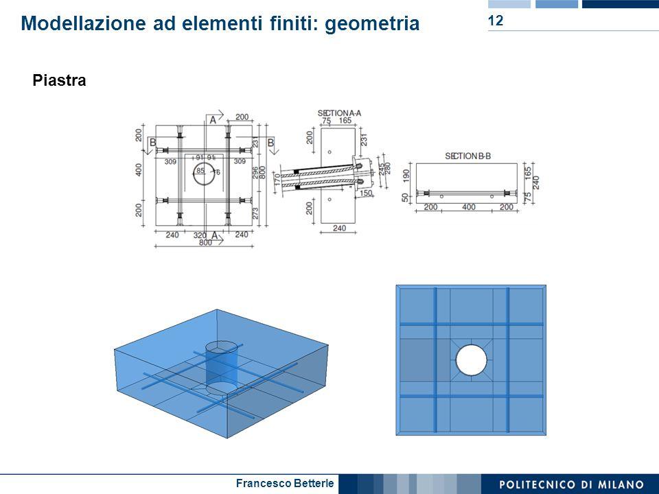 Francesco Betterle Modellazione ad elementi finiti: geometria 12 Piastra