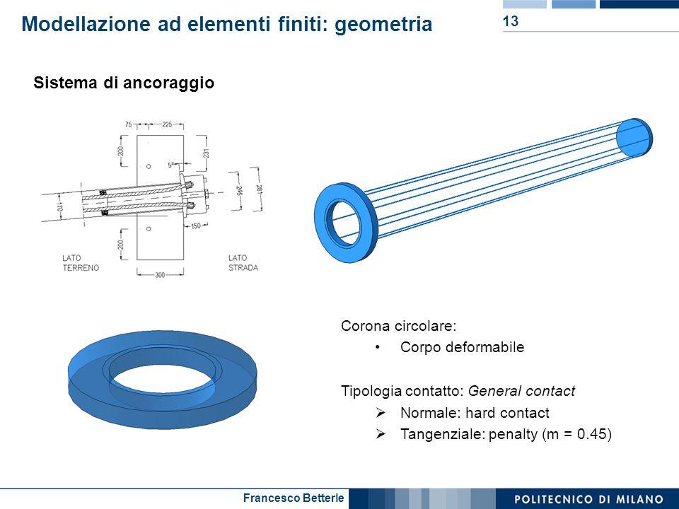 Francesco Betterle Modellazione ad elementi finiti: geometria 13 Sistema di ancoraggio Corona circolare: Corpo deformabile Tipologia contatto: General