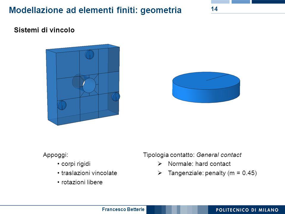 Francesco Betterle Modellazione ad elementi finiti: geometria 14 Sistemi di vincolo Appoggi: corpi rigidi traslazioni vincolate rotazioni libere Tipol
