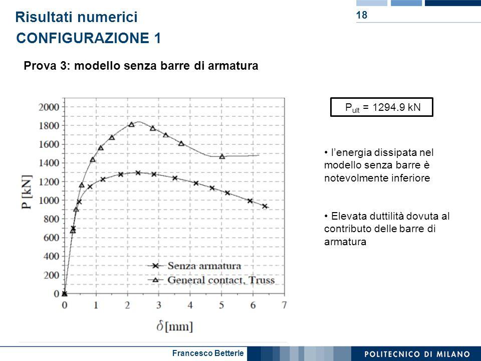 Francesco Betterle Risultati numerici 18 Prova 3: modello senza barre di armatura CONFIGURAZIONE 1 P ult = 1294.9 kN lenergia dissipata nel modello se