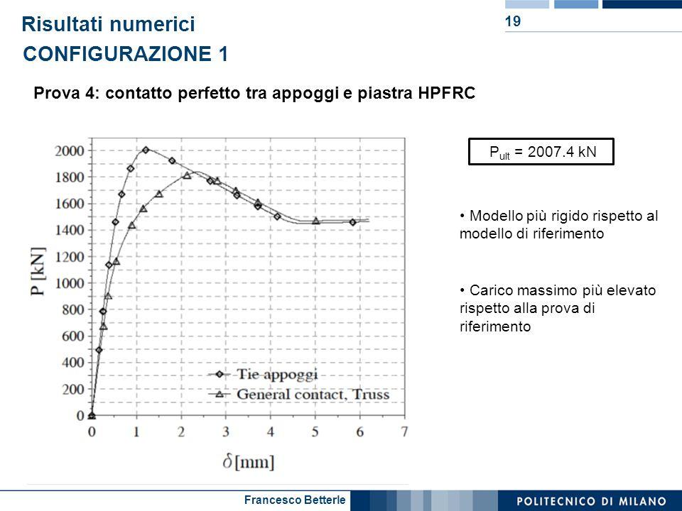 Francesco Betterle Risultati numerici 19 Prova 4: contatto perfetto tra appoggi e piastra HPFRC CONFIGURAZIONE 1 P ult = 2007.4 kN Modello più rigido