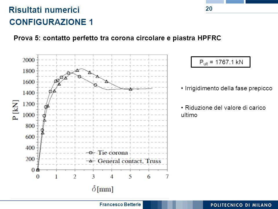 Francesco Betterle Risultati numerici 20 Prova 5: contatto perfetto tra corona circolare e piastra HPFRC CONFIGURAZIONE 1 P ult = 1767.1 kN Irrigidime
