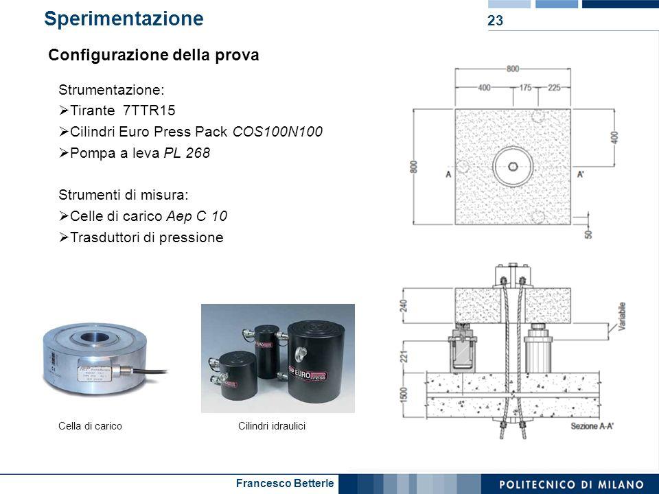 Francesco Betterle Sperimentazione 23 Strumentazione: Tirante 7TTR15 Cilindri Euro Press Pack COS100N100 Pompa a leva PL 268 Strumenti di misura: Cell