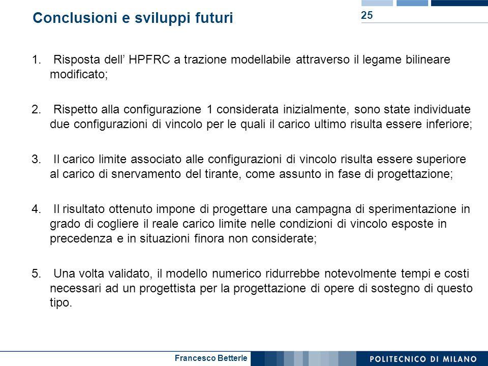Francesco Betterle Conclusioni e sviluppi futuri 25 1. Risposta dell HPFRC a trazione modellabile attraverso il legame bilineare modificato; 2. Rispet