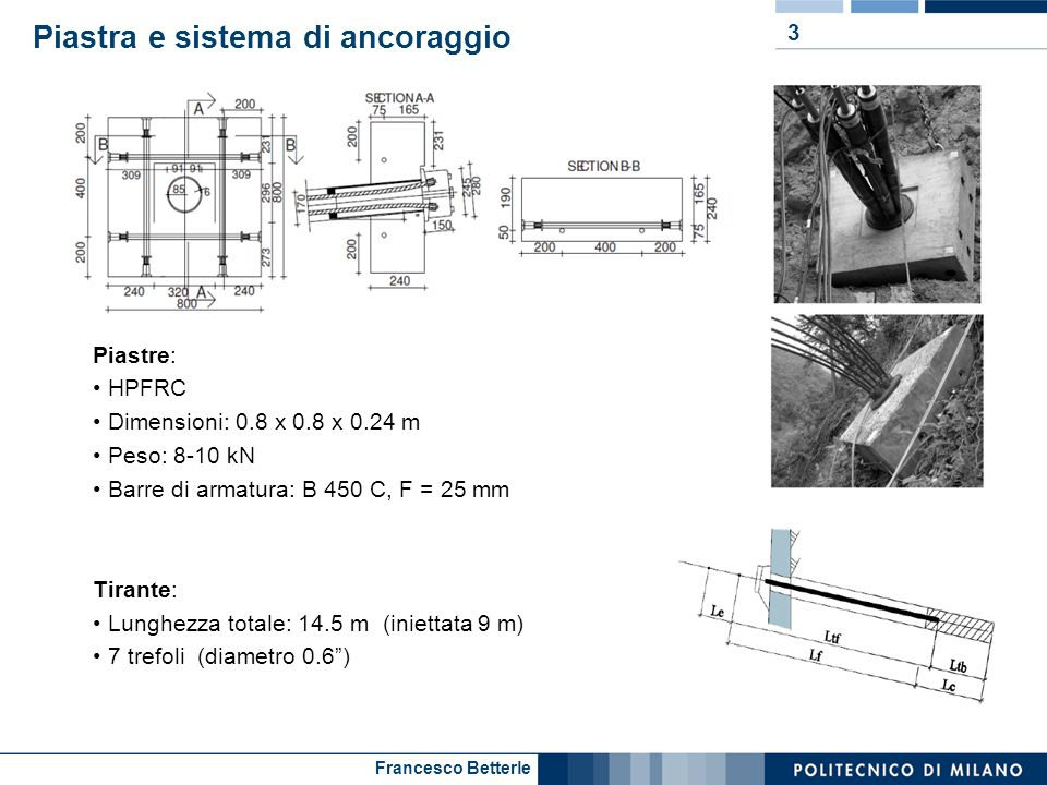 Francesco Betterle Piastra e sistema di ancoraggio 3 Piastre: HPFRC Dimensioni: 0.8 x 0.8 x 0.24 m Peso: 8-10 kN Barre di armatura: B 450 C, F = 25 mm