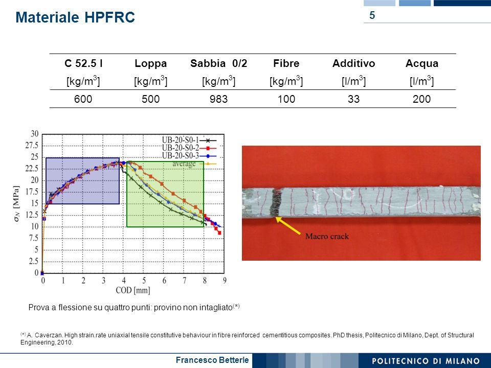 Francesco Betterle Materiale HPFRC 5 C 52.5 ILoppaSabbia 0/2FibreAdditivoAcqua [kg/m 3 ] [l/m 3 ] 60050098310033200 Prova a flessione su quattro punti