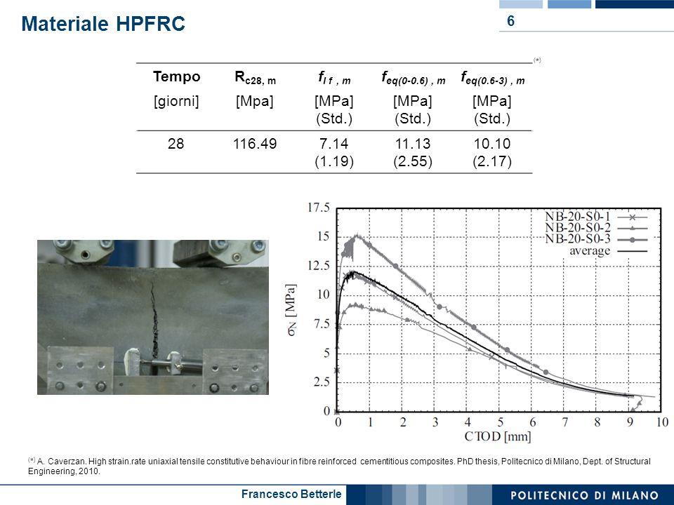 Francesco Betterle Materiale HPFRC 6 TempoR c28, m f I f, m f eq(0-0.6), m f eq(0.6-3), m [giorni][Mpa][MPa] (Std.) [MPa] (Std.) [MPa] (Std.) 28116.49
