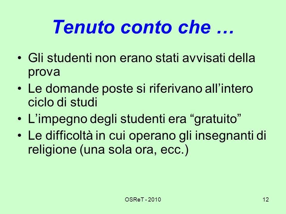 OSReT - 201012 Tenuto conto che … Gli studenti non erano stati avvisati della prova Le domande poste si riferivano allintero ciclo di studi Limpegno d
