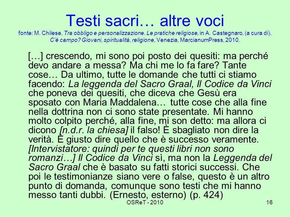 OSReT - 201016 Testi sacri… altre voci fonte: M. Chilese, Tra obbligo e personalizzazione. Le pratiche religiose, in A. Castegnaro, (a cura di), Cè ca