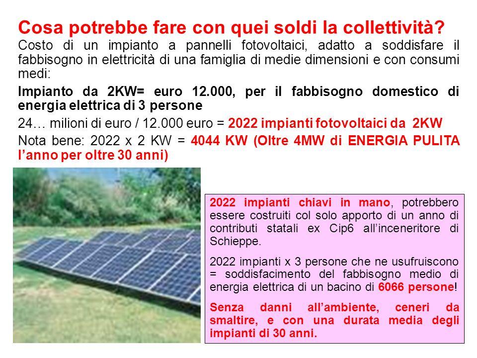 Costo di un impianto a pannelli fotovoltaici, adatto a soddisfare il fabbisogno in elettricità di una famiglia di medie dimensioni e con consumi medi: Impianto da 2KW= euro 12.000, per il fabbisogno domestico di energia elettrica di 3 persone 24… milioni di euro / 12.000 euro = 2022 impianti fotovoltaici da 2KW Nota bene: 2022 x 2 KW = 4044 KW (Oltre 4MW di ENERGIA PULITA lanno per oltre 30 anni) 2022 impianti chiavi in mano, potrebbero essere costruiti col solo apporto di un anno di contributi statali ex Cip6 allinceneritore di Schieppe.