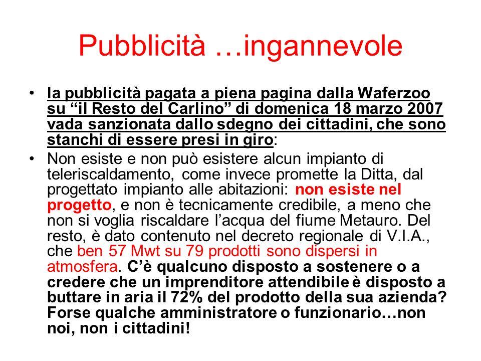 Pubblicità …ingannevole la pubblicità pagata a piena pagina dalla Waferzoo su il Resto del Carlino di domenica 18 marzo 2007 vada sanzionata dallo sde