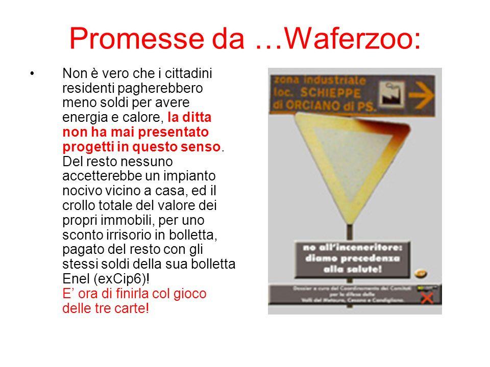 Promesse da …Waferzoo: Non è vero che i cittadini residenti pagherebbero meno soldi per avere energia e calore, la ditta non ha mai presentato progetti in questo senso.