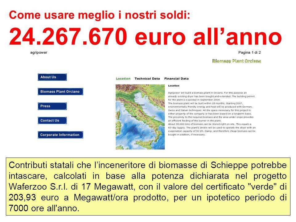Come usare meglio i nostri soldi: 24.267.670 euro allanno Contributi statali che linceneritore di biomasse di Schieppe potrebbe intascare, calcolati in base alla potenza dichiarata nel progetto Waferzoo S.r.l.
