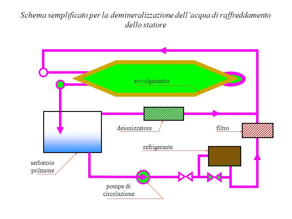 Schema semplificato per la demineralizzazione dellacqua di raffreddamento dello statore avvolgimento serbatoio polmone deionizzatore refrigerante pomp